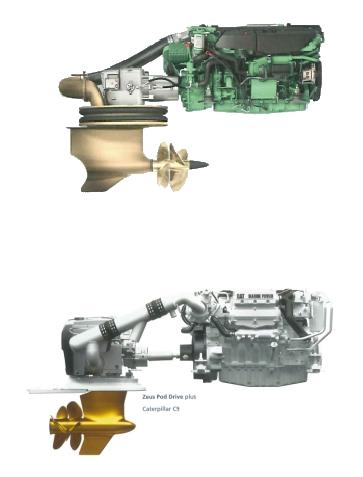 IPS (encima) y Zeus (debajo); ambos con hélices contrarrotativas. IPS es tractor, mientras que Zeus es empujador